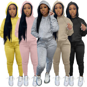 HOT SALE Women Winter Hoodie Long Sleeves Solid Color Pocket Casual Sport Outfit