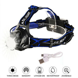 Zoom Headlamp 350000LM Rechargeable T6 LED Headlight Flashlights Head Torch