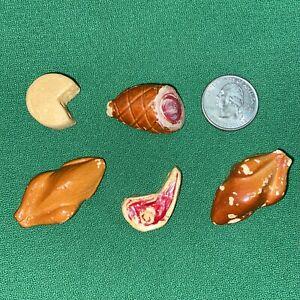 Vtg 1930-40's Chalk ware Resin? TURKEY HAM STEAK MEAT Dollhouse Miniature Toys
