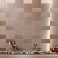 Metal Pattern Textured Glass Mosaic Tile Kitchen Backsplash Wall Self Adhesive
