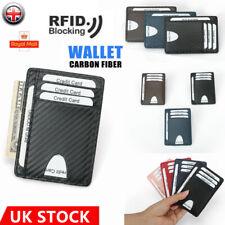 Fibra de Carbono Slim Billetera Portatarjetas Cuero RFID Bloque De Bolsillo caso Minimalista