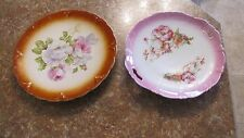 Lot 2 Antique Rose Flower Painted Plates Petrus Regout Maastricht & Handled