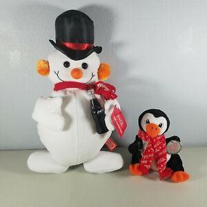 """Coca Cola Plush Lot Snowman 15"""" Tall & Coca Cola Penguin 7"""" Tall 1998"""
