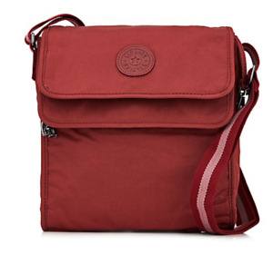 Kipling Nilsor Premium Medium Double Flap Crossbody Bag, Berry Satin, NEW