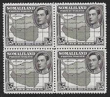 Somaliland 1938 5r Black SG 104 MNH Block of Four