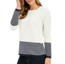 Charter Club Womens L White Blue Cloud Combo Colorblocked Ottoman Sweater NWT