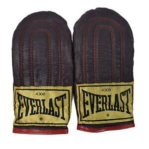 Vintage Everlast 4308 Leather Weight Speed Bag Training Gloves Black Red