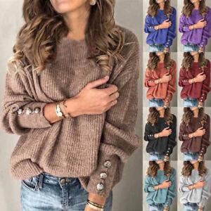 Womens Knitted Ladies Basic Jumper Loose Pullover Sweatshirt Blouse Tee Tops UK