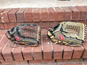 """Lot of 2 Rawlings Players Proffered 12"""" leather Baseball gloves lot leather R-H"""