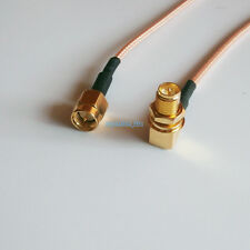 RP-SMA female bulkhead 90° RA to SMA male crimp RF RG316 cable pigtail 4inch
