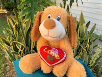"Beautiful LOVE Heart Puppy Dog SUPER SOFT Lovey 12"" Plush Stuffed Animal Toy"