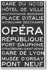 Paris Train Station Metro Street Signs - NEW World Travel POSTER
