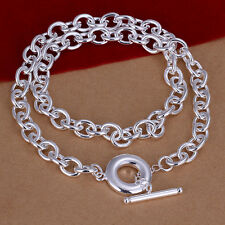 925 Sterling Silver Solid Round Hoop Man Woman Chain Necklace N-A341