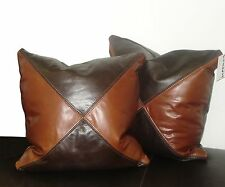 X Pattern, Genuine Leather Accent Pillows, Throw pillow 18 x 18  SET OF 2