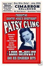 1960's Country: Patsy Cline Cimarron Ballroom Tulsa Oklahoma Concert Poster 1961