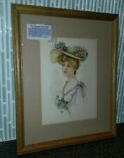 Victorian Lady Stone Lithograph - Gray Litho Company, NY - 9 Colors ca 1900-1910