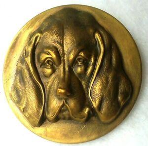 """Vintage Hound Dog Button, Brass Escutcheon,  Brass Back, by Faith Strobel 1 1/2"""""""