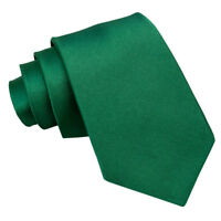 Emerald Green Mens Tie Satin Plain Formal Wedding Classic Necktie by DQT