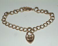 Vintage 9 Carat Gold Padlock starter  Charm Bracelet   17.7 Grams 1984