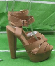 "NEW Skintone 6""High  Heel 1.5"" Platform PEEP TOE Ankle Strap Sexy Shoes Size 7"