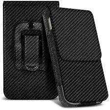 Vertical Small Black Carbon Fibre Belt Pouch Case For Nokia E72