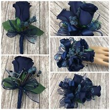 New Artificial Navy Prom Corsage, Blue Rose Mother's Corsage, Navy Boutonniere