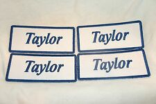 TAYLOR  LOT OF 4 NEW SEW ON / IRON ON NAME PATCH TAGS BLUE ON WHITE
