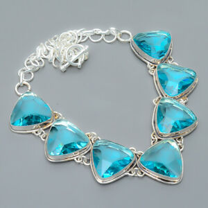 "Blue Topaz Gemstone 925 Sterling Silver Jewelry Handmade Necklace 17.99"" T8665"