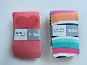 Lot of 2 Pairs Carter's Baby Girls Lightweight Tights 9 12 18 24 Months