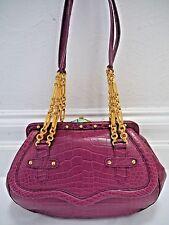 NEW SUAREZ genuine alligator crocodile handbag with gold metal chain details