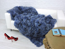 Véritable Luxe Fox Fourrure Couverture Bleu Couleur Peint #238