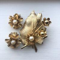 Vintage Gold Tone & Pearl Leaf Flower Brooch & Clip-On Earrings Set