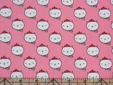 Robert Kaufman Oui Oui Paris France Artist Cat Sweet Pink Fabric BHY