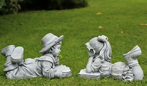 Garden Ornament Boy Girl Cherub Lying Reading. Large 33cm Sculpture Decor