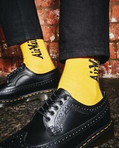 Dr. Martens Unisex DNA Heel Loop 2 Pack Socks Black & Yellow Cotton Blend