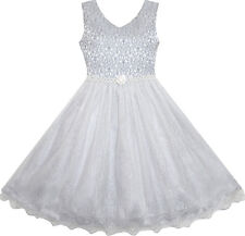 Flower Girl Dress Sparkling Pearl Belt Gray Wedding Bridesmaid Pageant Size 3-14 12