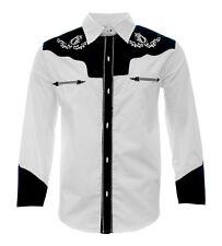 Cowboy Shirt Camisa Charra Western Wear El General Long Sleeve White/Black