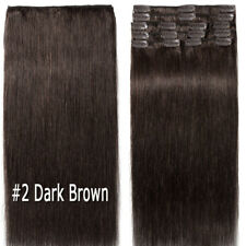 Clip In Real Remy Human Hair Extensions Full Head Long Straight Black Blonde LY
