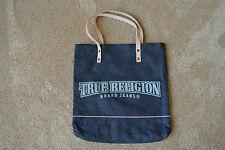 TRUE RELIGION DENIM TOTE LARGE Bag Purse NWOT$89 Dark Blue! TR Signature Logo's!