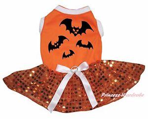 Halloween Bat Orange Cotton Top Bling Sequins Tutu Pet Dog Puppy Cat Dress Bow