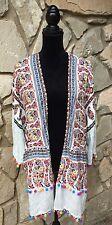 UMGEE White Multi Loose Over Sized Ball Fringe Trim Kimono Cardigan Jacket S M