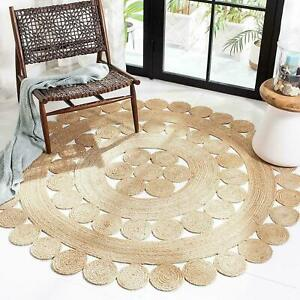 Jute Rug 100% Natural Bohemian Hemp Carpet 3x3 Feet Area Floor Living Room Rug