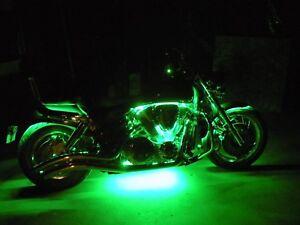 Green 4pc LED Accent Light Kit - Engine Fairing Body Glow Lighting for Harley