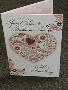 SISTER AND BROTHER IN LAW HAPPY ANNIVERSARY CARD SISTER AND HUSBAND