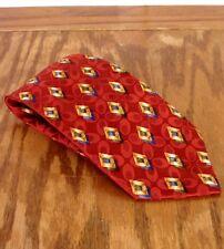 EUC Gallo uomo Rosso Geometrico DIAMOND PATTERN CRAVATTA di seta fatto a mano