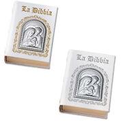 Bibbia in pelle bianca con placca in argento cm 21x15