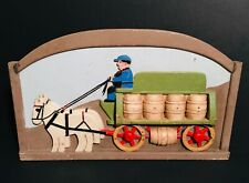 Carved & Painted Wood Horse Delivery Wagon NAIVE Plaque,OHIO/Pennsylvania,c1950