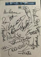 Multi Signed Manchester City Legends Sheet Johnny Hart Ken Barnes + Autograph