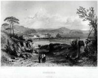 Pozzuoli: Panorama. Acciaio. Steel engraving. Stampa Antica + Passepartout. 1864