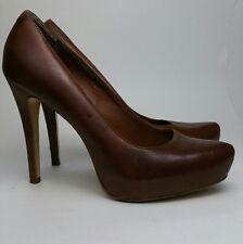 Women's ALDO Brown Leather High Heel Platform Pump Classic Shoes Size 40 US 9
